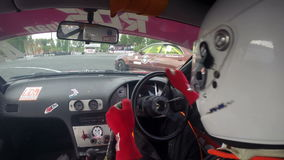 Drift racing outdoors, view of the car cabin stock video
