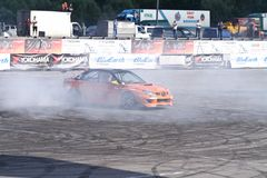Drift show Orange team royalty free stock photo