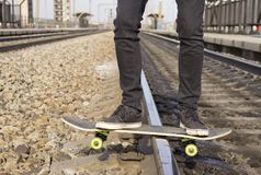 Drift on a skateboard stock image
