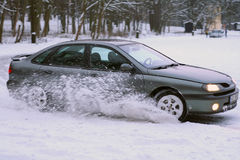 Drift on snow. Fast winter drifting on snowy place stock photography