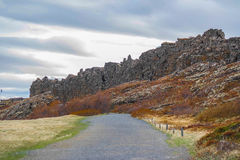 Drift of the tectonic plates on Phingvellir/Thingvellir Royalty Free Stock Images