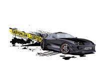 Drifter Supra customized caution speeder. Vectorized illustration of customized toyota supra grunge caution tape Stock Photography