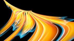 Driftig magisk kosmisk brännhet textur för härligt ljust gult orange abstrakt begrepp, phoenix fågel från linjer och band, vågor, royaltyfri illustrationer