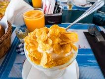 Driftig medelhavs- frukost med grekisk yoghurt och att konservera flingor med honung arkivfoton