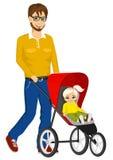 Driftig sittvagn för stilig enkel fader Fotografering för Bildbyråer