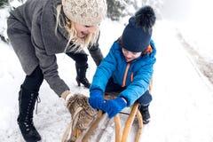 Driftig son för moder på pulkan Dimmig vit vinternatur fotografering för bildbyråer