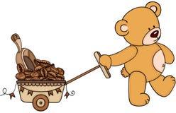 Driftig vagn för nallebjörn mycket av den kaffebönan och skopan Royaltyfri Foto