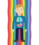 Driftigt läka Mannen läker sig med energifältet Pranic läka royaltyfri illustrationer