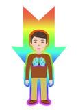 Driftigt läka Mannen läker sig med energifältet Pranic läka stock illustrationer