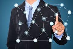 Driftigt socialt nätverk för hand Arkivbild