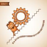 Driftigt tungt kugghjul för robot uppför trappan vektor illustrationer