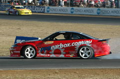 Drifting. Image taken of a drifter in his drift heat at  the queensland raceway in australia Royalty Free Stock Photography