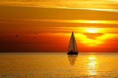 Drifting boat Royalty Free Stock Images