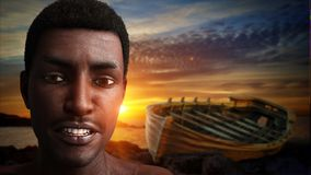 Drifting boat and look of an African. 3D Rendering Stock Photo