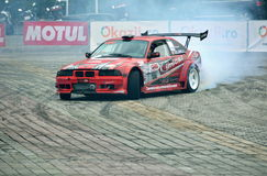 Drift car. Competition and smoke stock photos