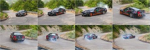 Drifting car Ford Mustang stock photo
