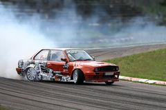 Drifting car sport. A car drifting competition in Riga, Latvia Stock Image