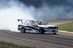 Drifting car sport. A car drifting competition in Riga, Latvia Royalty Free Stock Photo
