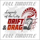 Drifting Car - vector emblem for racing club. Drift and Drag. Stock Photos