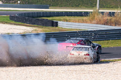 Drifting cars. Drift cars photographed during King of Europe event at Slovakia Ring on October 20, 2013 royalty free stock image