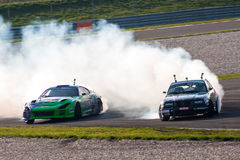 Drifting cars. Drift cars photographed during King of Europe event at Slovakia Ring on October 20, 2013 stock images