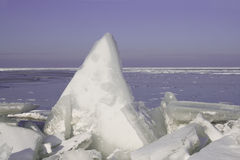 Drifting Ice. On the IJsselmeer, Netherlands stock photo