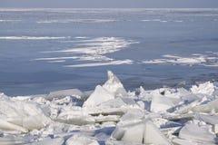 Drifting Ice. On the IJsselmeer, Netherlands Stock Photos