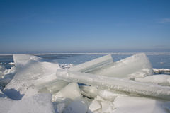 Drifting Ice. On the IJsselmeer Netherlands. Big Floe on the coast Royalty Free Stock Photo