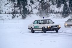 Drifting. Ice Car sport motorcross vehicle track speed action fun Winter Snow Cold police Stock Photo