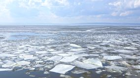 Drifting ice floe on the river stock footage