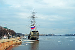 Drifting ice on the Neva river Royalty Free Stock Image