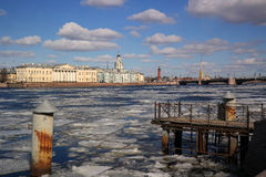 St. Petersburg, Drifting ice on the Neva. View of the cabinet of curiosities during the ice drift Stock Images