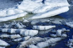 Drifting Ice on river stock photo