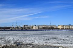 Drifting on the Neva River. Blue sky and white ice royalty free stock photo