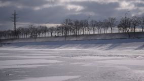 Drifting snow during overcast weather stock video footage