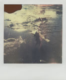 Drifting wood in frozen water in Wisła river. This is real polaroid high quality scan. Drifting wood floating in cold water Stock Photos