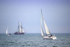 Drifting yachts Stock Photos