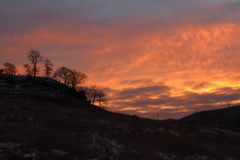 Driftless Bereich River Valley Winter-Sonnenaufgang-Mittelwestens Stockfoto