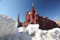 Drifts of snow on Red Square in Moscow, snow, storm Stock Photography