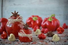 Driftstopp för söt spansk peppar och för chilipeppar i en glass krus Royaltyfria Bilder