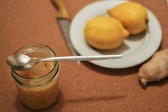 Driftstopp från citronen och ingefäran kneg casserole som lagar mat läckert home hemlagat recept royaltyfri foto