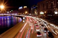 driftstoppnatttrafik Royaltyfri Fotografi