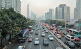 driftstoppshenzhen trafik Arkivfoton
