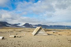 Driftwood cabin at the beach at Svalbard with driftwood and bones on the beach stock photos