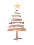 Driftwood Christmas Tree. Christmas tree made from drift wood and a starfish star isolated on white background Royalty Free Stock Photography