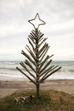 Driftwood Christmas Tree, Pouaua Beach, Gisborne, New Zealand. Vertical portrait  format colour photograph of driftwood Christmas Tree made by summertime freedom Stock Photos