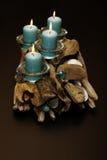 Driftwood dekoracje z świeczkami Obrazy Stock