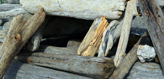Driftwood Fort Window Royalty Free Stock Photos