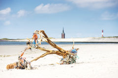 Driftwood logs on beach Stock Images