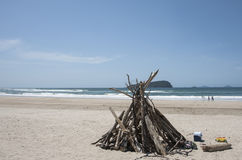 Driftwood structure on beach. Stock Photos